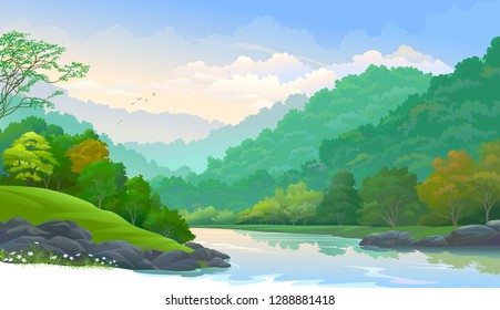 Clean and fresh river flowing down from the mountains through a thick forest.