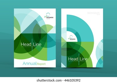 Clean geometric design annual report cover, leaflet business cover page, brochure flyer layout, abstract presentation background poster, A4 size