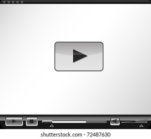 Clean glossy webplayer with highly stylized graphic