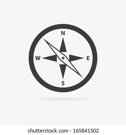Clean gray vector flat compass symbol icon