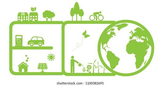 Clean, green environment and eco symbols