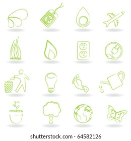 Clean green environment and ecology symbols