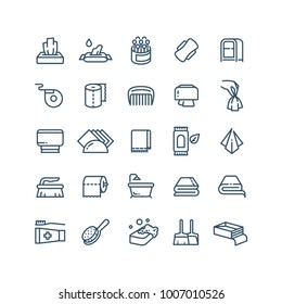 Clean hands and antiseptic napkins vector line icons. Sanitary and hygiene symbols. Paper hand for hygiene, napkin clean for toilet illustration