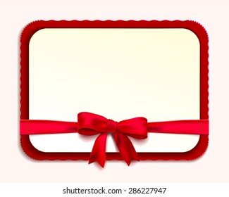 Clean horizontal rectangular pattern Blank or invitation with rounded and scalloped edges. red ribbon and bow. Vector illustration
