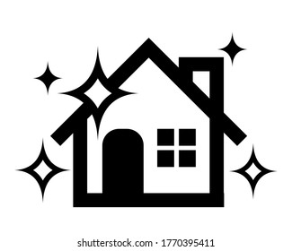 Clean house icon with sparkling. illustration on white isolated background. Building quality business concept. Stay at home.