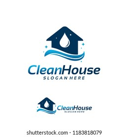 Clean House logo designs concept, Cleaning Service logo symbol