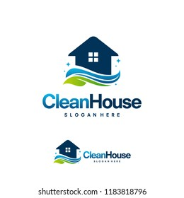 Clean House logo designs with Nature leaf, Cleaning Service logo vector