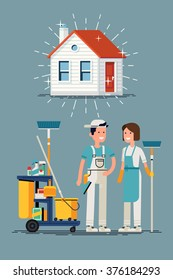 Clean house vector concept design. Cleaning workers characters and cleaning equipment with shining clean house in trendy flat design. Friendly smiling adult janitor workers standing