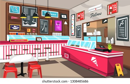 Clean Ice Cream Cafe With Colorful Decoration, Ceiling Lamps, Storefront, Cashier Machine, Air Conditioner For Vector Illustration Interior Ideas