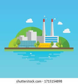 Clean industrial building. Flat style Vector illustration