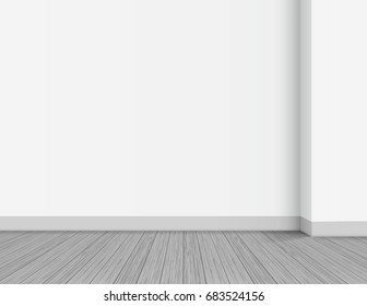 Clean interior template, empty white wall with corner background. Wooden floor