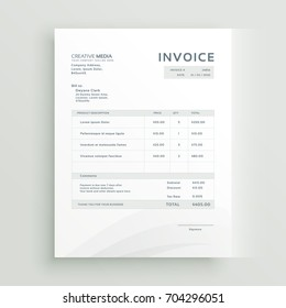 clean invoice template vector design