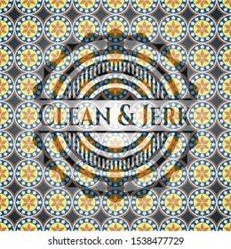 Clean & Jerk arabic badge background. Arabesque decoration.
