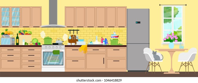 Clean kitchen interior. The food is prepared, the products are bought, the dishes are washed.Vector flat illustration.