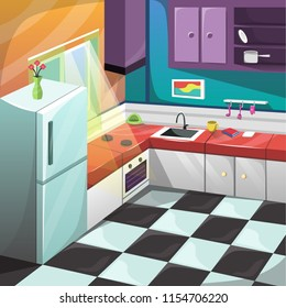 Clean Kitchen Set Interior Room Furniture with Large Windows, Refrigerator stove and desk for Cartoon Vector Architecture Decoration Ilustration Concept Idea