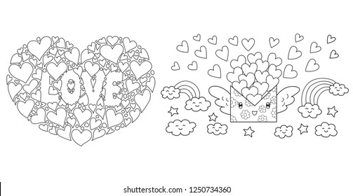 Clean lines hearts lay in the shape of big heart and flying love letter for design element.Vector illustration