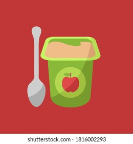 clean liquid food container isolated symbol mash or pudding puree dessert icon. fresh baby breakfast. flavor apple yoghurt cream on cup flat design vector. fruit yogurt smooth on pot product & spoon