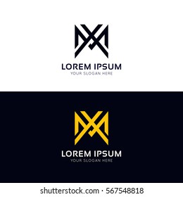 Clean M letter logo ornament sign vector design