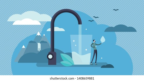 Clean mineral mountain water vector illustration. Flat tiny potable drinking persons concept. Fresh and clear natural drink for healthy and safe environment. Save earth with pure liquid consumption.