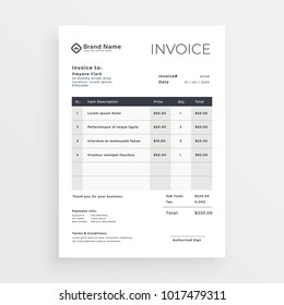 clean minimal invoice vector template design