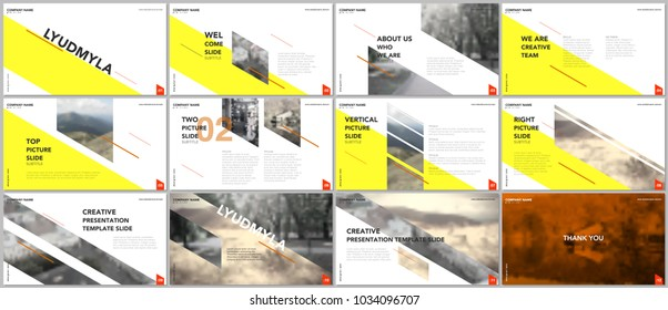 Clean and minimal presentation templates. Yellow elements on white background. Brochure cover vector design. Presentation slides for flyer, leaflet, brochure, report, marketing, advertising, business