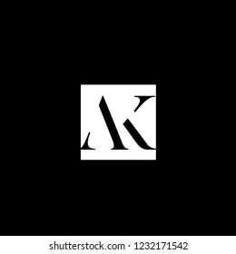 Clean Minimalist Letter AK or KA Logo Design | Letter AK Monogram or KA monogram