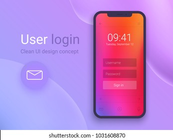 Clean Mobile UI Design Concept. Login Application with Password Form Window. Trendy Holographic Gradients. Flat Web Icons. Vector EPS 10