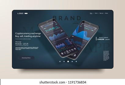 Clean Mobile UI Design Concept. Trendy Mobile Banking. Cryptocurrency Technology. Bitcoin Exchange. Financial analytics. Trading Business Application Template