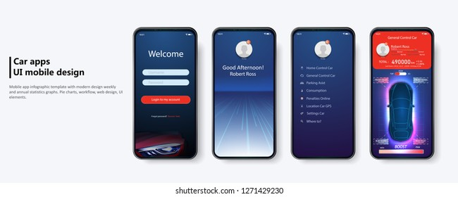 Clean Mobile UI Design  Concept. Car Servicing mobile app UI, UX, GUI kit including Sign In, Sign Up, Home, Menu, Service Type. Futuristic user interface. HUD UI.  Trendy Holographic Gradients.Vector