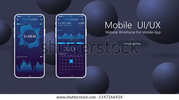 Clean Mobile Ui Design Concept Trendy Stock Vector (Royalty Free