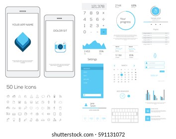 Clean Mobile Web UI, UX  Kit. Vector illustration