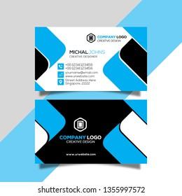 Clean Modern Business Card Design Green and Dark