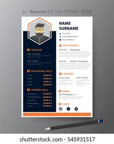 Clean modern design template of  resume or CV,vector illustration