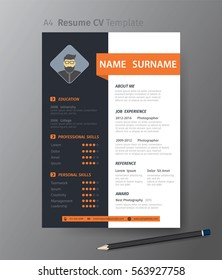 Clean modern design template of  resume or CV,vector illustration