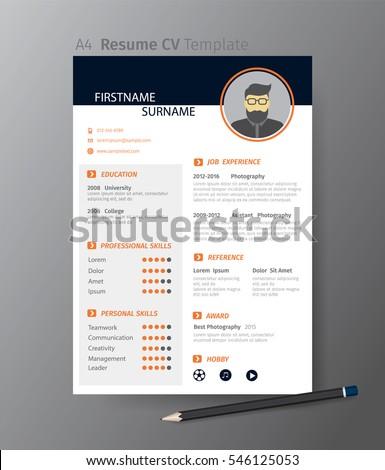 Clean Modern Design Template Of Resume Or CVvector Illustration