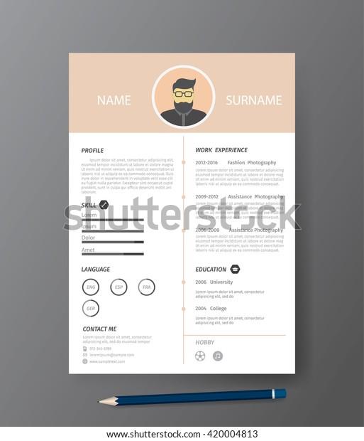 Clean Modern Design Template Resume Cvvector Stock ...