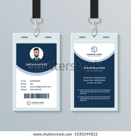clean modern employee id card design のベクター画像素材