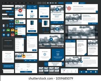 Clean & modern graphical user interface set. Internet UI mega collection elements. Push button, internet banner, calendar, menu, picture frame, media player, button, check box,radio button, web forms