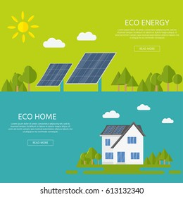 Clean modern house with solar panels. Eco friendly alternative energy. Ecosystem infographics for web design.  Flat vector illustration.
