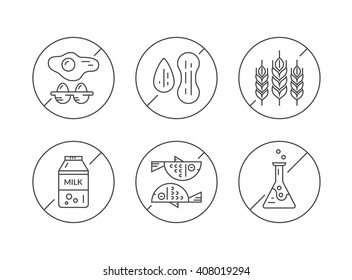 Clean and modern vector line icons with different food allergens in prohibited signs. No eggs, no nuts, no gluten, no lactose, no seafood, no gmo.