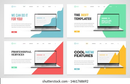 Clean and modern website template, vector illustration