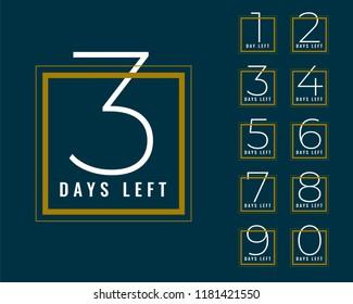 clean number of days left banner design