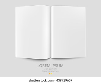 Clean opened paper magazine template. Empty book, journal or document. isolated blank book. Vector illustration
