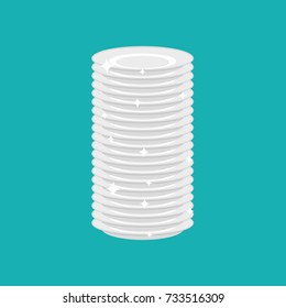 Clean plates stack isolated. fresh dishes. Vector illustration
