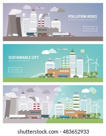 Clean and polluted city banners set, environmental care and urban sustainability concept