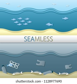 Clean and polluted ocean seamless textures