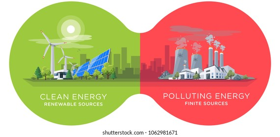 Clean and polluting electricity production in infinity binoculars circles. Vector illustration of fossil coal and nuclear power plants versus clean solar panels and wind turbines renewable energy.