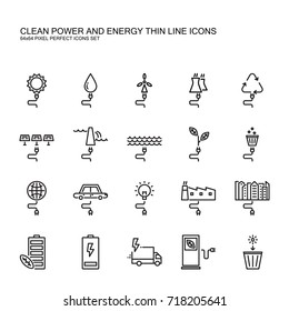 Clean power and Green energy thin line icons set. Clean electrical generate power source sun, water nuclear dam wave nature and garbage. include with pixel perfect icons.