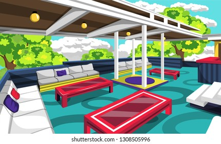 Clean Rooftop Cafe Outdoor With Cozy Sofa, Red Table, Yellow Lamps, Chair And Bars For Vector Illustration Restaurant Outdoor Ideas