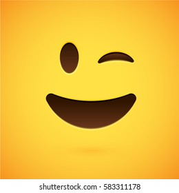 Clean and shiny smiley emoticon, vector illustration